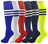 Kids Soccer Socks, 6 Pairs for Boys Girls, Athletic Sports Football Gym School Team Pack for Children, Youth (Assorted, Shoe Sizes 6-10 / Ages 12-15)