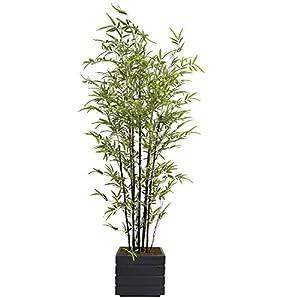 Vintage Home Artificial Bamboo Tree 78″ High Green Emerald Artificial Faux Bamboo Tree with Black/Grey Fiberstone Planter for Home Decor