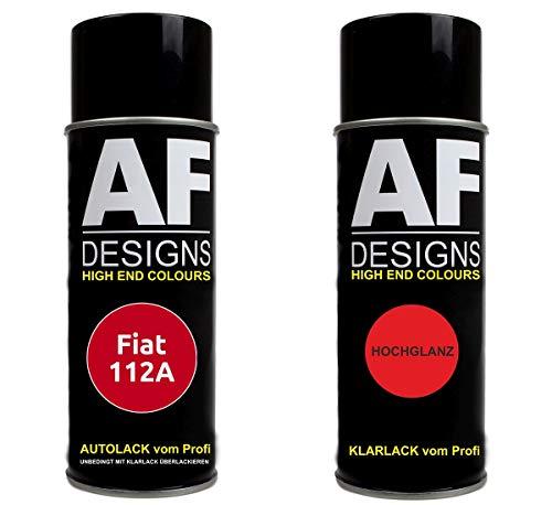Autolack Spraydose Set für FIAT 112A Rosso Starter Basislack Klarlack Sprühdose 400ml