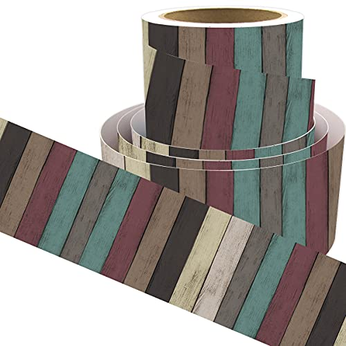 Multicolored Wood Bulletin Board Border Straight Border Trim for Classroom Decoration 36ft