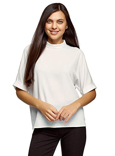 oodji Ultra Damen Kurzärmelige Bluse aus Fließendem Stoff, Weiß, DE 40 / EU 42 / L