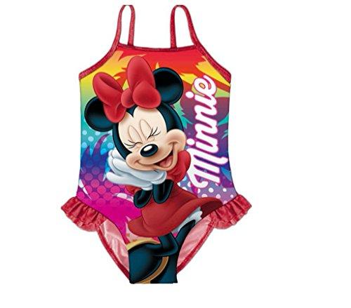 Kids4shop Minnie Maus Mouse Disney 1 x Badeanzug Schwimmanzug Auswahl Gr. 104 110 116 122 128 134 mit Sticker Pink Rot
