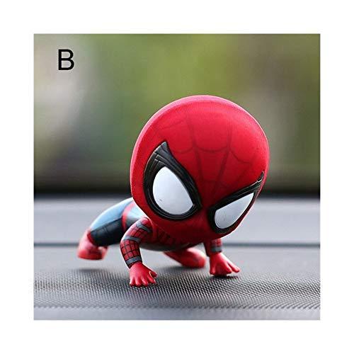 WSWJ Car Cartoon Spiderman modèle Cool Toy résine Ornement Aimant intérieur Auto Tableau de Bord Décoration Poupée Accessoires Voiture Garniture Cadeau (Color : B)