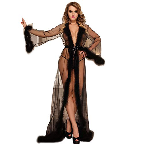 Ddl Sexy Dessous, europäische Plus Größe sexy Dessous sexy Plüsch Federn öffnen langärmeliges Nachthemd, Perspektive Versuchung sexy Kleid,Black,XXXXL