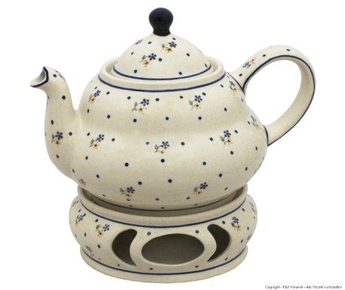 Original Bunzlauer Keramik Teekanne 2,0 Liter mit integriertem Sieb und Stövchen im Dekor 111