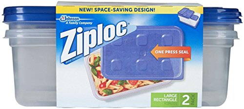 Ziploc Container Large Rectangle, 9 cup Containers - 2 ct