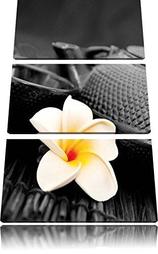 oosterse theepot met jasmijn bloemFoto Canvas 3 deel | Maat: 120x80 cm | Wanddecoraties | Kunstdruk | Volledig gemonteerd