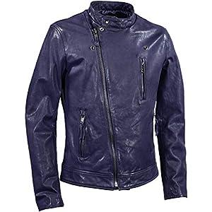 本革 リアルレザー ダブルライダース レザージャケット 牛革 革ジャン ジャケット メンズ ネイビーブルー紺インディゴ青 393350 M