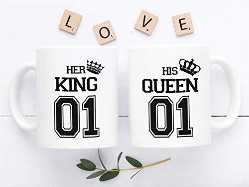 Kaffeetassen King & Queen 2er Set bedruckte Partnertassen