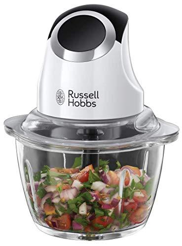 Russell Hobbs Mini Zerkleinerer Horizon, Ein-Hand-Bedientaste, 500ml Glasbehälter inkl. Deckel, Gemüsezerkleinerer, elektrischer Mixer, Multi-& Universalzerkleinerer f. Gemüse, Obst & Fleisch 24661-56