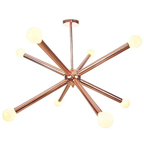 Sputnik Starburst Lustre, Finition Chrome Mid Century Pendentif Lumière 8 Lumières Branches Lustre G4 Métal Boule De Verre Plafonnier Décor Créatif Luminaires pour Couloir Chambre Salle À Ma