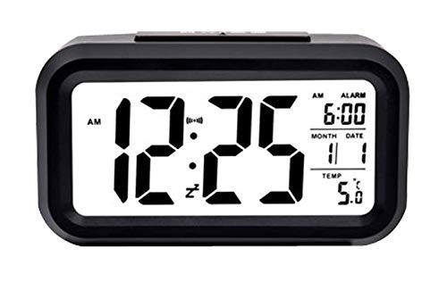 ELYSIUM Digital Alarm Clock Large LCD Display Light Sensor Nightlight with Indoor Temperature, Battery Operated Desk Small Clock (Black)