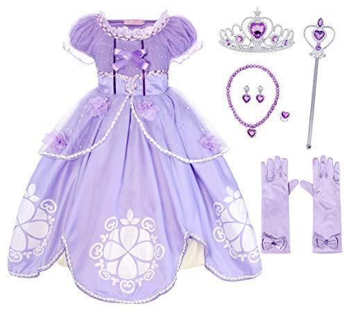AmzBarley Niñas Princesa Sofía Vestirse Vestidos de Fiesta de Disfraces para niños Vestir Fiesta Halloween Cumpleaños Halloween Vestir Vestir de Noche