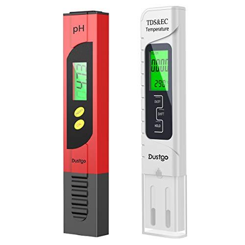 Dustgo 2-en-1 Testeur pH Mètre électronique&TDS Mètre Testeur de qualité de l'Eau TDS pH EC Température, Testeur numérique avec Écran LCD Test...