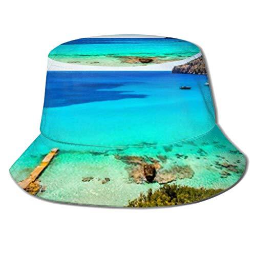 jenny-shop Schöne Seestück Landschaft auf Mallorca Sommer Sommer Angelausflug Sun Packable Fisherman Cap Sonnenhut Eimer Hut Angelkappe