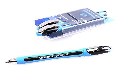 Schneider Slider Memo XB Ballpoint Pen, Black, Pack of 3 Pens (150294)