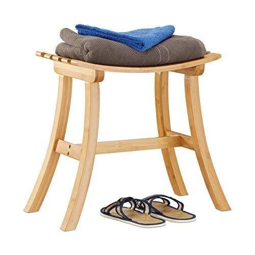 Relaxdays Hocker aus Bambus, elegant geschwungener Sitzhocker f. Garderobe, Holzhocker HxBxT: 48 x 56 x 28,5 cm, natur