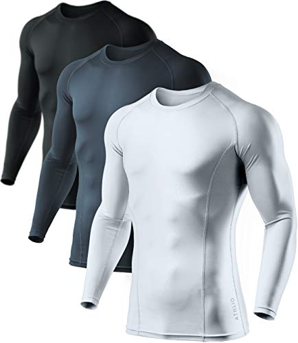 ATHLIO Men's Cool Dry Fit Long Sleeve Compression Shirts, Active Sports Base Layer T-Shirt, Athletic Workout Shirt, 3pack(bls01) - Black/Charcoal/White, Medium