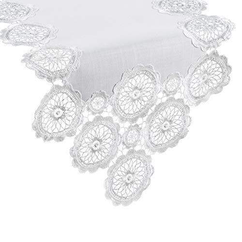 Eurofirany tafelkleed, tafelloper, tafeldecoratie, tafelkleed, gehaakt, wit, 40 x 140 cm, 6 stuks