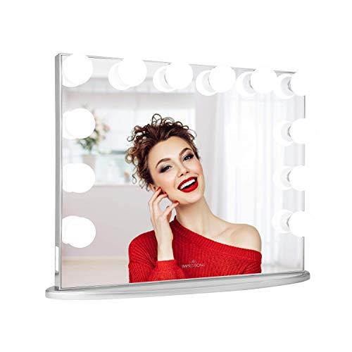 Impressions Hollywood Glow Plus Kosmetikspiegel mit 12 LED-Lichtern, Schminkspiegel mit USB-Ladeverlängerung (Silber)