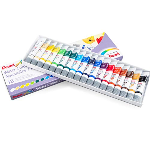 Pentel Arts Water Colors, Assorted Colors, Pack of 18 (WFRS-18)