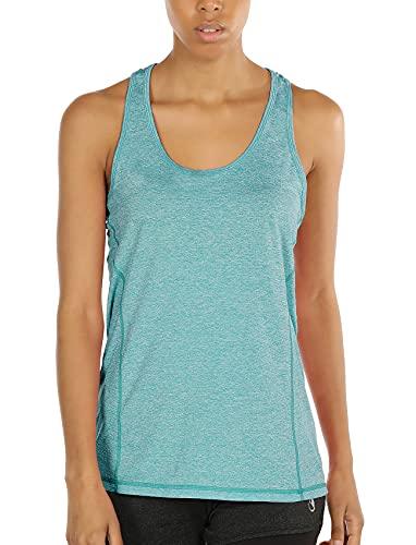 icyzone Camiseta de Fitness Deportiva de Tirantes para Mujer (S, Verde)