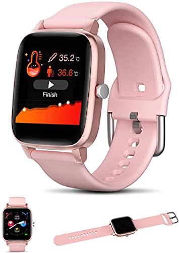 Smartwatch Smart Watch per Android iOS con Temperatura Corporea Frequenza Cardiaca Pressione Sanguigna Ossigeno nel Sangue Monitor del Sonno, Fitness Tracker per Donne Uomini,Rosa