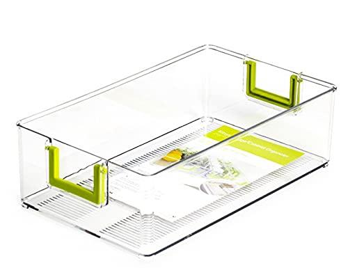 Caja De Almacenamiento Del Cajón Del Refrigerador, Organizador Del Cajón Del Refrigerador, Compartimientos De Almacenamiento Del Refrigerador Para El Refrigerador, Cocina, Despensa-M