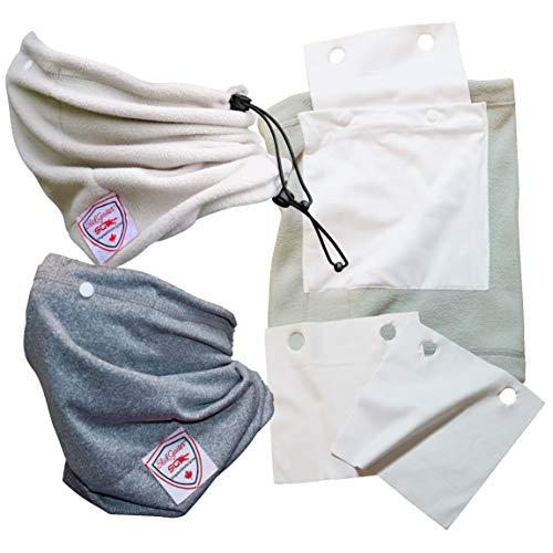 2 Set Slick Gaiter 3-Ply Protection Cloth Face Mask with Filter Pocket All-Seasons 1 Cooling UV Neck Gaiter 1 Fleece Neck Warmer 2 Washable Reusable Filters Flexible Nose Bridge Wire Adjustable Straps