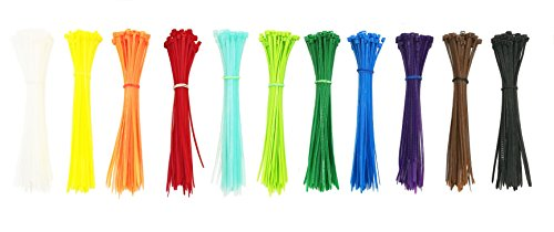 Summer-Home Self Locking Nylon Cable Zip Ties in 11 Colors(White,Yellow,Orange,Red,Sky Blue,Fluorescent Green,Green,Blue,Purple,Coffee,Black)- 6 - 550pcs