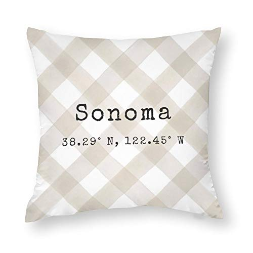 yyone Polyester Cotton Home Decorative Pillow Covers Custom City Coordinates Throw Pillow Case Cushion Cover Home Decor,Square 22X22 Inches