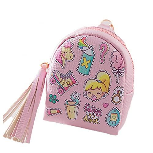 Niños Mini Monedero Bolso con Cremallera Bolsa de Billetera Linda Bolsa de Cuero Monedero de Cuero para niñas Niñas - Niñas Pinky