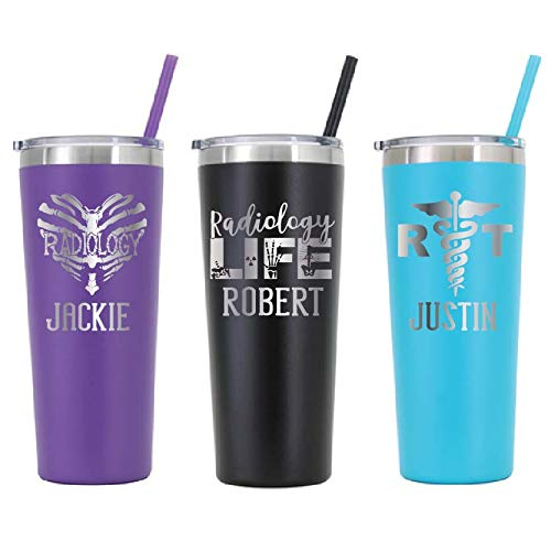 Personalized Radiology Technician Tumbler - Laser Engraved - 22 oz Stainless Steel Skinny Tumbler - Includes Straw and Lid - Vacuum Insulated - Personalized Gift for Radiology Tech, Rad Technician