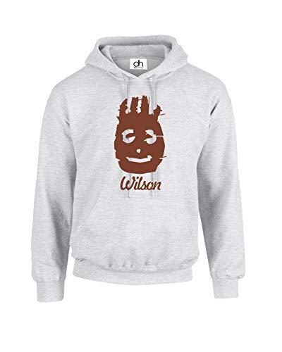 Wilson Volleyball Lustig Cast Away Inspiriert Fashion Blogger Collage Swag Top Humor Witz Geschenk Unisex Fit Hoodie Sweatshirt Pullover Gr. XS, grau