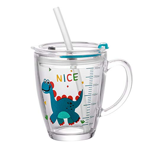 Kids Tempered Glass Cups Milk Measure Cup with Straws and Lids Dinosaur Giraffe 350ML Scale Measure Mug Heat-Resistant Leakproof Tempered Glass Water Cup for Hot Milk, Iced Juice