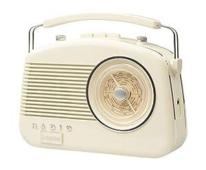 Steepletone Brighton 1950's Portable Retro Style Rotary Radio - Beige