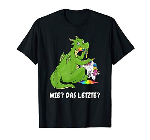 lustiger Drachen Shirt das letzte Drache frisst Einhorn T-Shirt