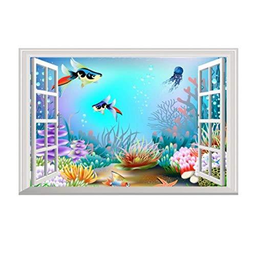 Autocollant mural sous le dessin animé 3D de la mer 3D vue de la fenêtre Stickers Home Room Wall Window Door Mural décoratif