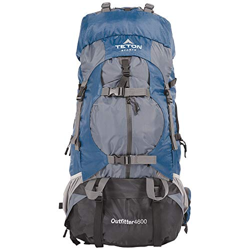 TETON Sports Outfitter 4600 Ultralight Internal Frame Backpack – Not Your Basic Backpack; High-Performance Backpack for Hiking, Camping, Travel, and Outdoor Activities; Sewn-In Rain Cover , Navy Blue, 35.5-Inch x 14.4-Inch x 14-Inch