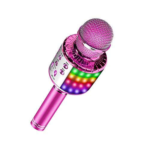 Micrófono inalámbrico Bluetooth Karaoke con luces LED multicolores, Micrófono portátil portátil 4 en 1 con cambio de voz mágico(Pink)
