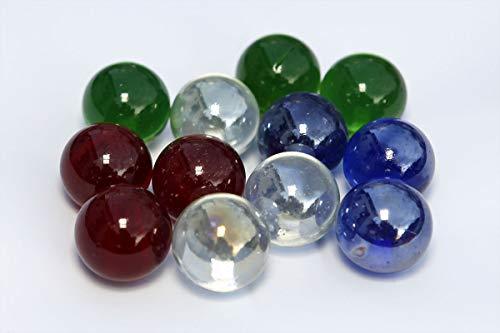 mabro-5625 ; 12x große Murmeln; rot, grün, blau, klar