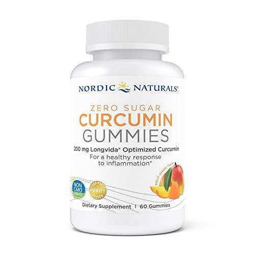 Nordic Naturals Zero Sugar Curcumin Gummies, Mango - 200 mg Optimized Curcumin Extract - 60 Gummies - Great Taste - Antioxidant Support, Healthy Metabolic Balance - Non-GMO, Vegan - 30 Servings