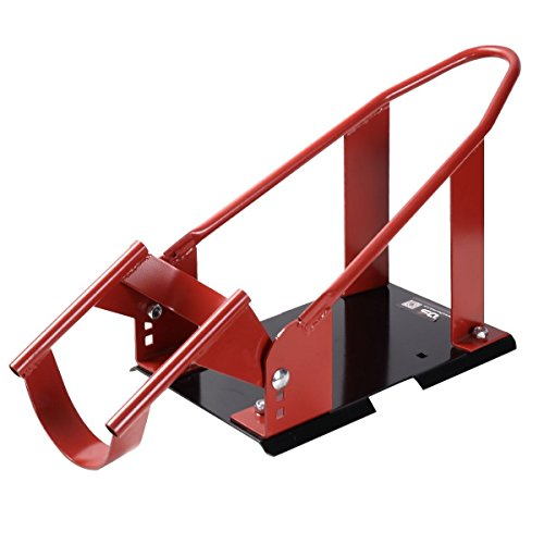 Goplus Motorcycle Wheel Chock Cradle Scooter Bike Stand Lift Mount Trailer (Red)