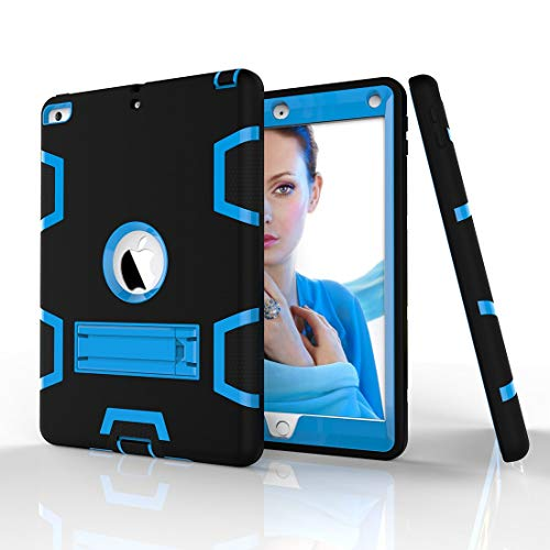YANCAI Case Cover Shockproof Heavy-Duty Rubber High-Strength Sturdy and Durable Hybrid Three-Layer Full Body Protective Case for iPad 5/AIR Built-in Shockproof Support (Color : Black+Blue)