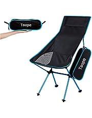 Opvouwbare campingstoel, TAOPE lichtgewicht draagbare outdoor stoel voor vissen tuin wandelen backpacken reizen buiten stoel BBQ strand (verborgen tot 200 lbs) - blauw