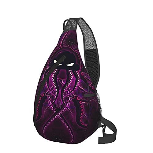 Mochila de hombro púrpura Octopus Art Chest Crossbody Mochila ligera Mochila de viaje casual Fanny Pack Bolsas de mensajero para senderismo camping