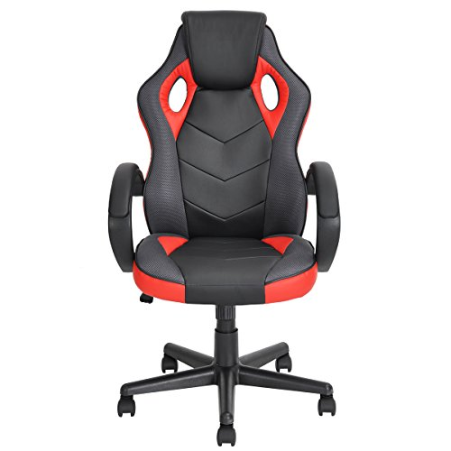 Racing Chair FurnitureR Gaming Chair Ergonomic Executive Swivel Leather Office Chair Racing Style Task Gaming Chair High-Back Computer Support Chair Red chair gaming