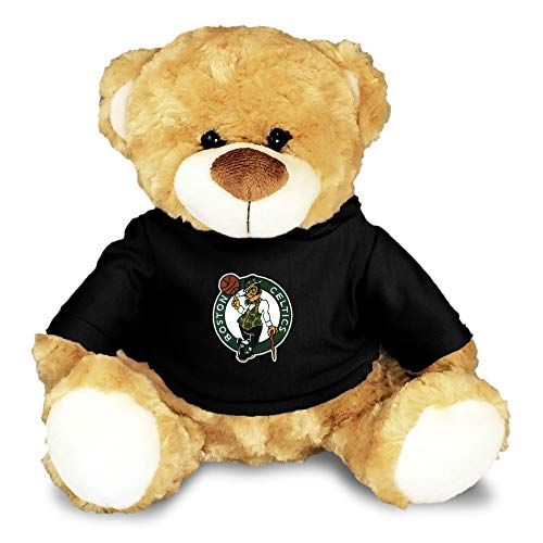 """Boston Celtics Baby Plush Bear - Personalized Teddy Bear with Baby Name Embroidery and Official NBA Logos, 100% Polyester, Removable Hooded Sweatshirt, 10"""" Personalized Stuffed Animal (Black)"""