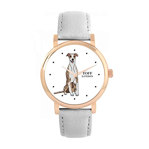 Toff London Reloj para Perro Whippet Beige a Rayas