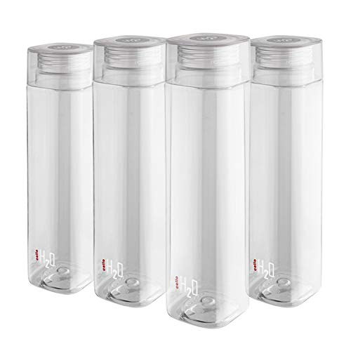 Cello H2O Squaremate Plastic Water Bottle, 1-Liter, Set of 4, Clear